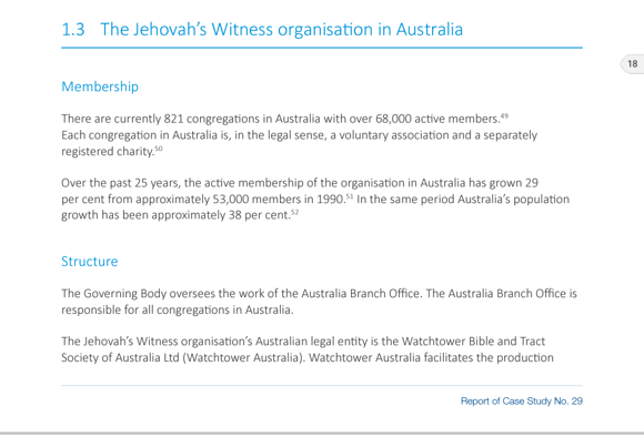 Watchtower in Australia - Number of Corporations