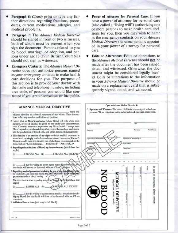 Scan Of Currently Used Advanced Medical Directive